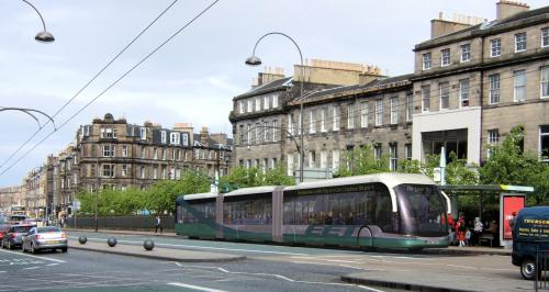 Artist's impression of a modern trolleybus in Edinburgh